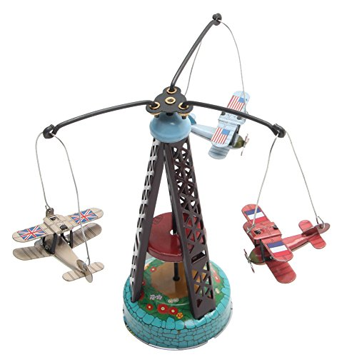 fang sky Vintage Wind Up Rotating Airplane Carousel Clockwork Toy Collectible Gift