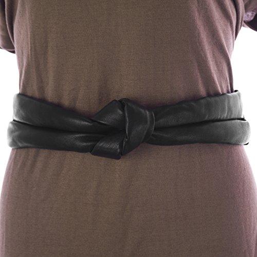 Max Mara Sportmax Women's Brigida Leather Knot Front Belt Medium (31'') Black by MaxMara (Image #1)