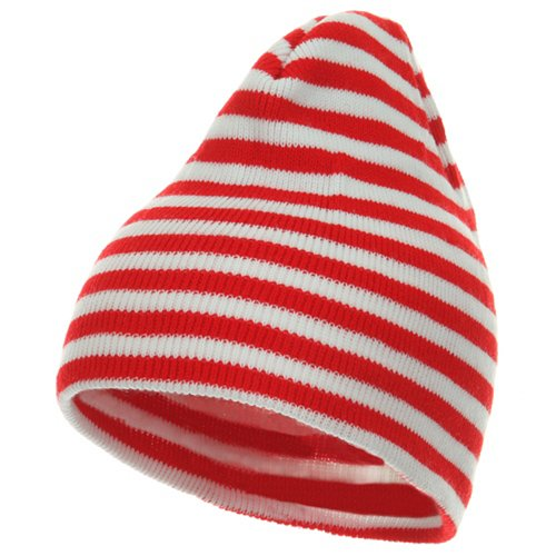 Striped Beanie Cap - Trendy Striped Beanie - Red White OSFM