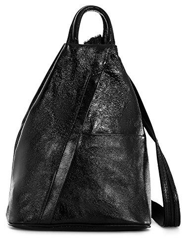 Vera Metallic femme In LiaTalia dos au Black à Made Italy Sac main Pelle pour porté ZwpOpxdqT