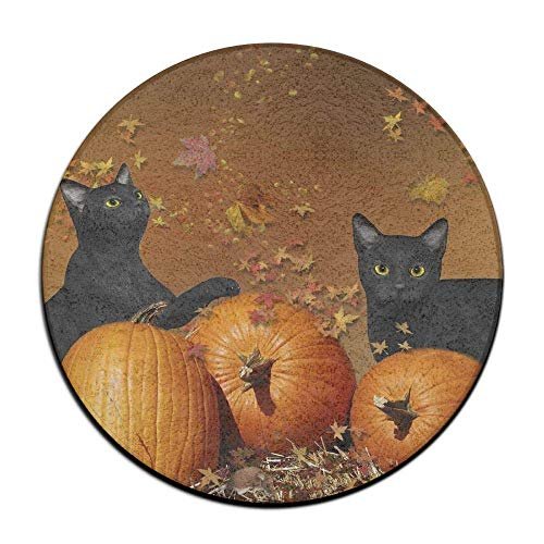 Hawaiian Waves Non Skid Soft Rug Mats Black Cat Halloween Seat Cushion (16 Inch) Round Stool Cushion Pad Slipcover -