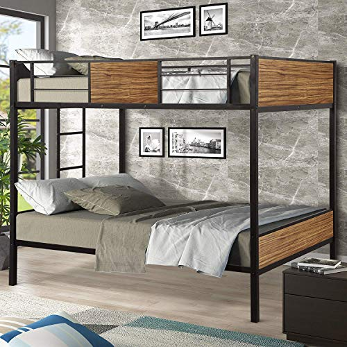 MIERES Twin Modern Style Steel Frame bunk Bed with Safety Rail, Built-in Ladder for Bedroom, Dorm, Boys, Girls, Adults, Black