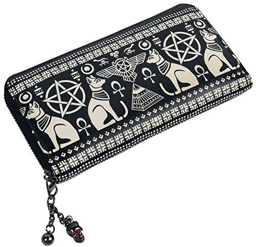 Pentagram Wallet (Banned Apparel Anubis Egyptian Sphynx Cat Pyramid Pentagram Vegan Black Wallet)