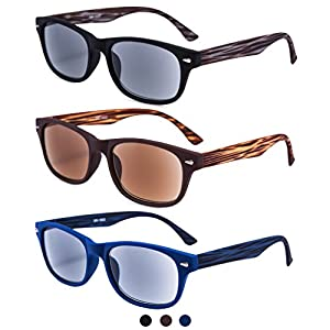 EYEGUARD 3 Pack Unisex Classic of Style Sunglasses Readers UV400 Protection Outdoor Reading Glasses for Men and Women 1.00