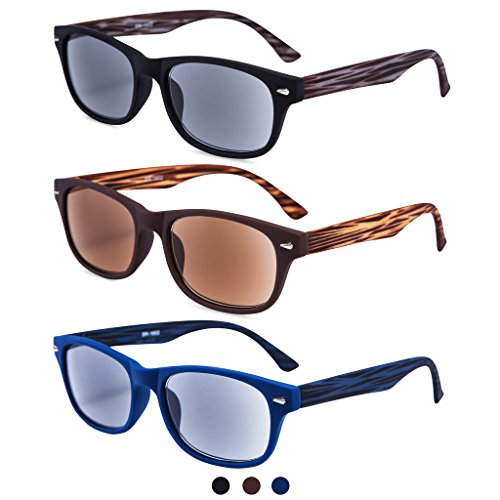 EYEGUARD 3 Pack Unisex Classic of Style Sunglasses Readers UV400 Protection Outdoor Reading Glasses for Men and Women 2.00 by EYEGUARD