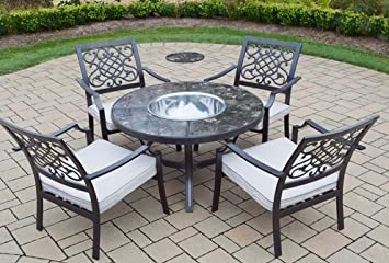 Patio Furniture 5 Piece Fire Pit Seating Group With Cushions Patio Fire Pit
