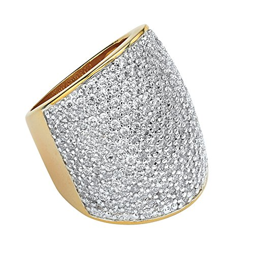 Pave Set Dome Ring (White Cubic Zirconia 14k Gold-Plated Pave-Set Dome Ring Size 9)