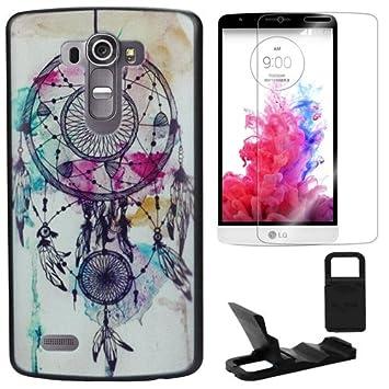 Semoss Atrapasuenos Funda de TPU Pluma Carcasa Case Para LG G4 Dream Catcher Silicona Cover Piel con Protector Pantalla y Soporte Titular