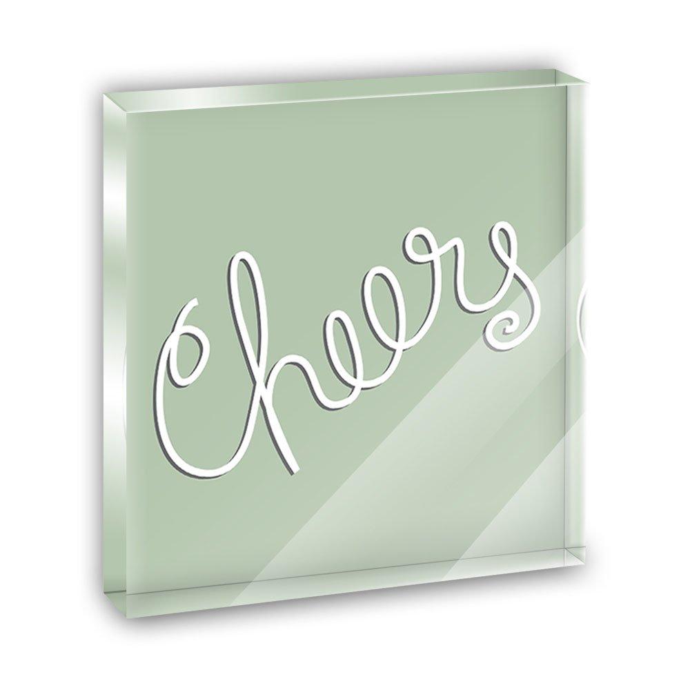 Cheers Handwritten Acrylic Office Mini Desk Plaque Ornament Paperweight