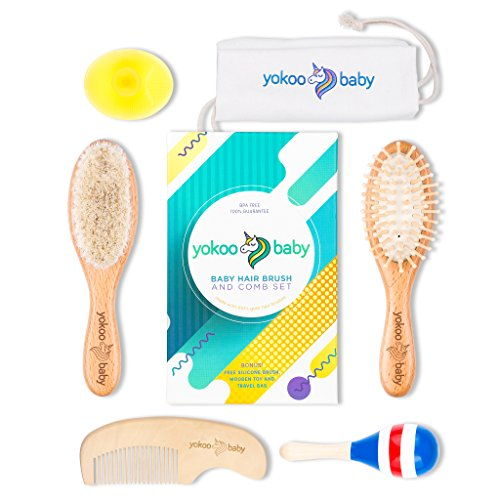 6 Piece Premium Quality Wooden Baby Hair Brush and Comb Set Made with Natural Goat Hair by Yokoo Baby | Bonus Free Travel Bag + Baby Silicone Bath Brush + Baby Rattle Toy | Prevents Cradle Cap