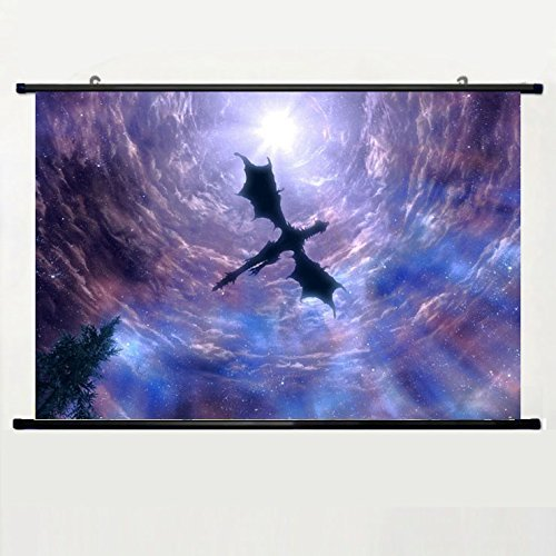 Popular And Unqiue Designed Home Decor Art Game Poster With Elder Scrolls Dragon Skyrim Dragon(2) Wall Scroll Poster Fabric Painting 24 X 16 Inch (60cm X 40 cm)