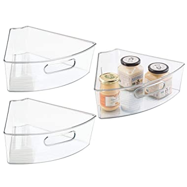 mDesign Kitchen Cabinet Plastic Lazy Susan Storage Organizer Bins with Front Handle - Medium Pie-Shaped 1/6 Wedge, 4  Deep Container - 3 Pack - Clear
