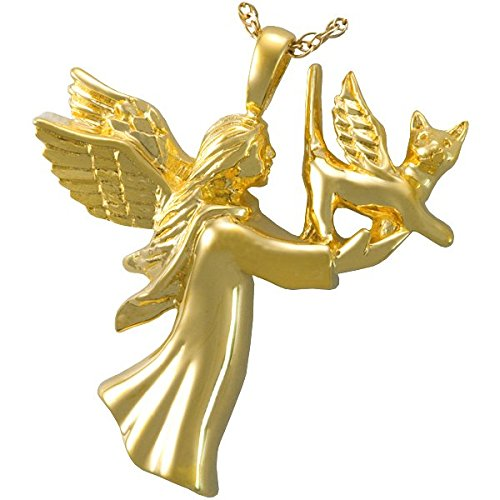 Memorial Gallery Pets 3199 Angel CatGP 14K Gold/Silver Plating Cremation Pet Jewelry by Memorial Gallery Pets
