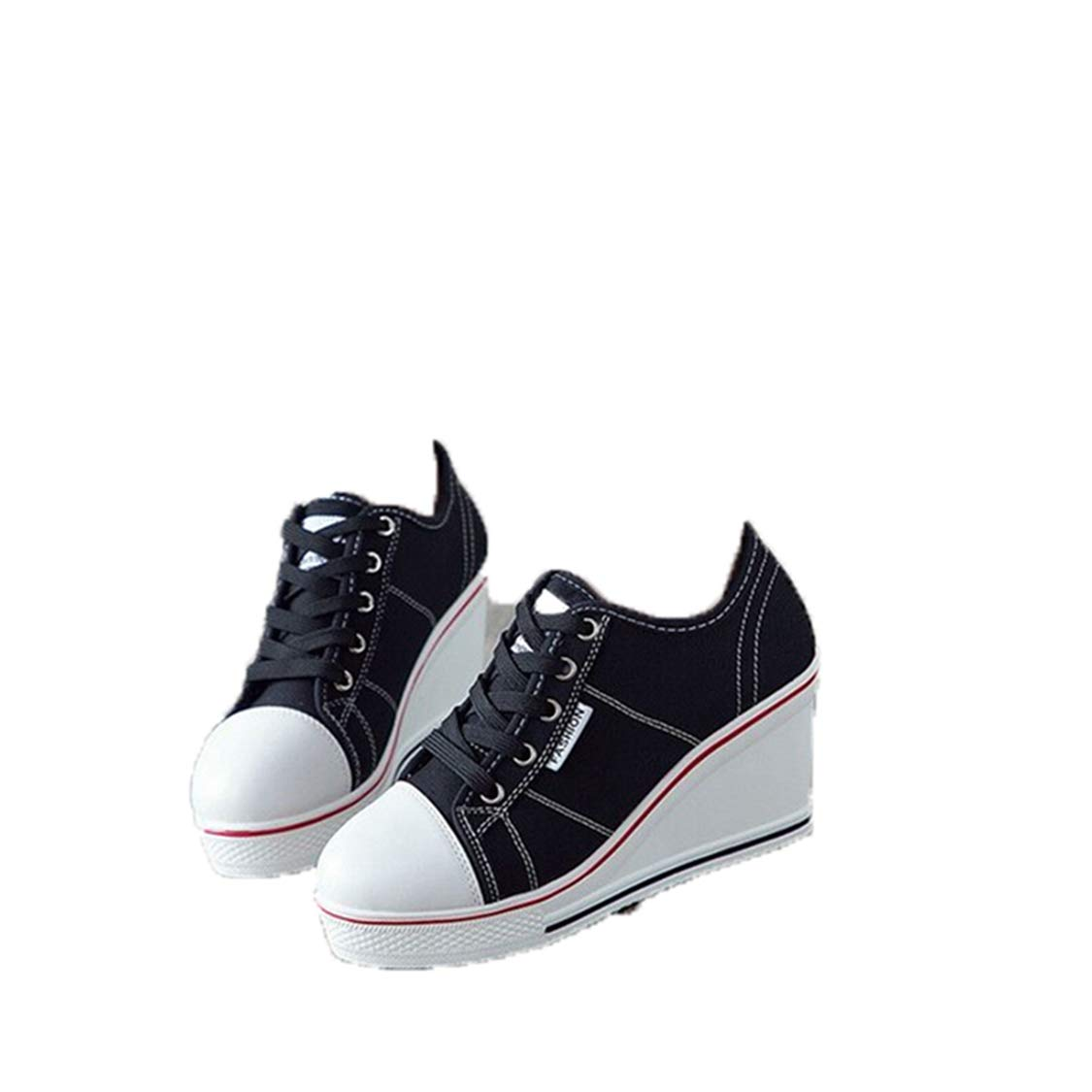 96c437cd40b5d Amazon.com: DOSOMI Womens Students Wedge Sneakers Canvas Vulcanize ...