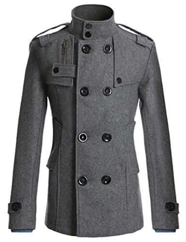 Men's Classic Wool Blend Pea Coat with Double Button Size S Grey