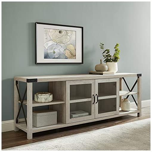 Farmhouse Living Room Furniture UNIVERSAL LTD TV Stand for 75 INCH TV Farmhouse Console with Open and Closed Storage (for TVs Up to 78″, White Oak) farmhouse tv stands