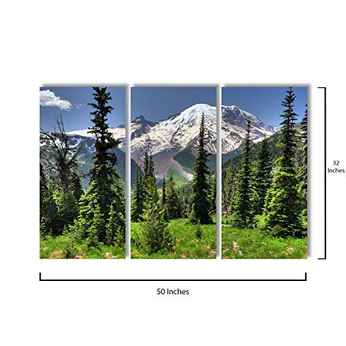 3 Piece Canvas Wall Art - Beautiful Mount Rainier from Sunrise Point - Modern Home Decor Stretched and Framed Ready to Hang - 16