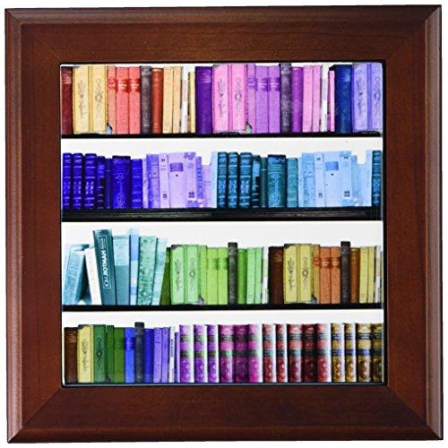 (3dRose ft_112957_1 Colorful Bookshelf Books-Rainbow Bookshelves-Reading Book Geek Library Nerd-Librarian Author-Framed Tile, 8 by 8-Inch)