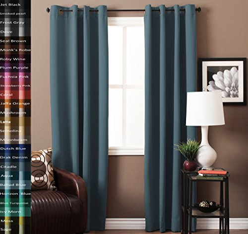 TURQUOIZE Pair(2 Panels) Solid Blackout Drapes, Citadel/ Blue Grey, Themal Insulated, Grommet/Eyelet Top, Nursery & Infant Care Curtains Each Panel 52