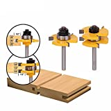"""Bestgle 2PCS 1/4-Inch Shank Tongue Groove Router Bit T-shape 3/4"""" Stock Tenon Cutter Wood Panel Cabinet Door Floor Drill Bits 3 Teeth Milling Cutter Woodworking Tool"""