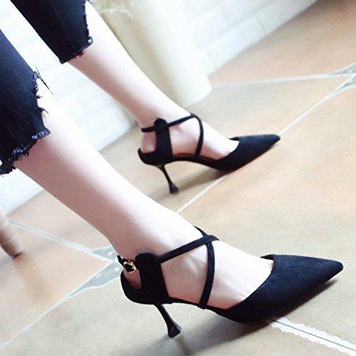 Xue Qiqi Pumps Leer Sandalen Schuhe, Leer Pumps Frauen Schuhe Fein mit High-Heel Schuhe für Den Geschlitzten Spitze Schuhe Buchstabiere Farbe Licht - Einzelne Schuhe Schwarz 3a6a30