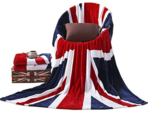 Bluestar Soft Flannel Throw Blanket for Bedroom Living Rooms Sofa, US flag and British flag Patterns Warm Blanket (UK Flag)