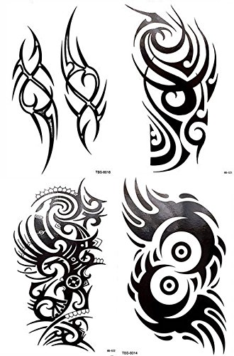 Amazon Com 4 Sheets Black Large Temporary Tattoo Men Women Tribal