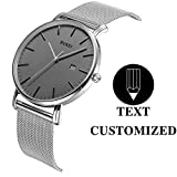 BUREI Personalized Men Watch Text Customization DIY Slim Quartz Wrist Watch and Silver Stainless Steel Mesh Band Especial Gift for Loved Ones