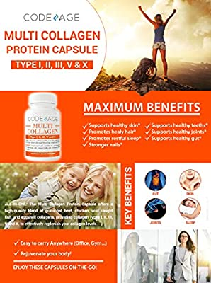 Codeage Multi Collagen Protein Capsules, Type I, II, III, V, X, Grass Fed, All in One Super Bone Broth with Collagen, 90 Count