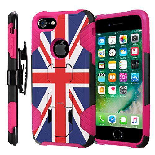 (iPhone 8 Case, Capsule-Case Heavy Duty Protection Kickstand Case with Holster for Apple iPhone 8 Black Pink - (Union Jack Flag))