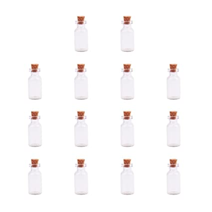 8a75e65f4b0f PandaHall Elite 14 Pack Small Glass Bottles Jars Tiny Clear Vials Storage  Container with Cork Stoppers and Screw Eye Pin for Decoration, Arts & ...