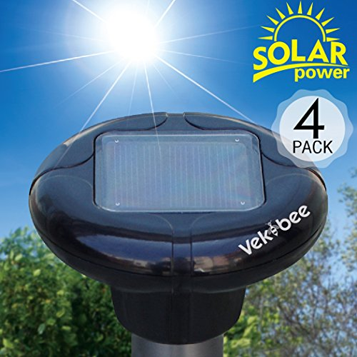 Solar Mole Repellent Pack of 4 Outdoor Sonic Pest Deterrent Mole Chaser Vole Eliminator Gopher Repeller for Yard Lawn Garden (Rat Zapper Battery Pack)