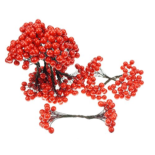 Megrocle Two-headed Artificial Red Holly Berries Stamens on Wire Stems Christmas Mini Foam Rosehip Berries for DIY Garland Christmas Tree Home Wedding Party Decor Craft,10 Pack (Hip Garland Rose)