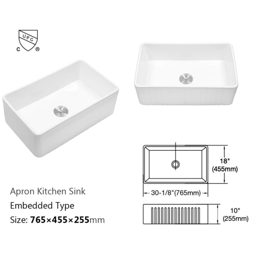 Sarlai 30'' Farmhouse Kitchen Sink White Porcelain Vitreous, SUC3018R1 Fireclay Single Bowl Kitchen Sink by Sarlai (Image #7)