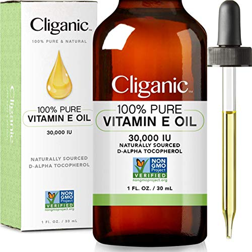 Cliganic 100% Pure Vitamin E Oil for Skin, Hair & Face – 30,000 IU, Non-GMO Verified | Natural D-Alpha Tocopherol