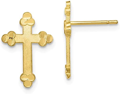 10k Yellow Gold Budded Cross Stud Earring Fine Jewelry Ideal Gifts For Women
