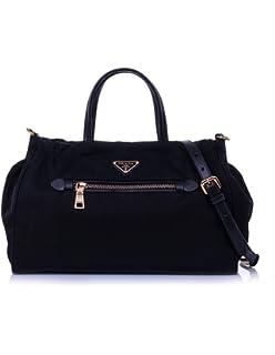 18dfb2cbd0fc ... get prada womens tessuto nylon saffiano leather trim shoulder tote bag  black 1ba843 d3605 667d8