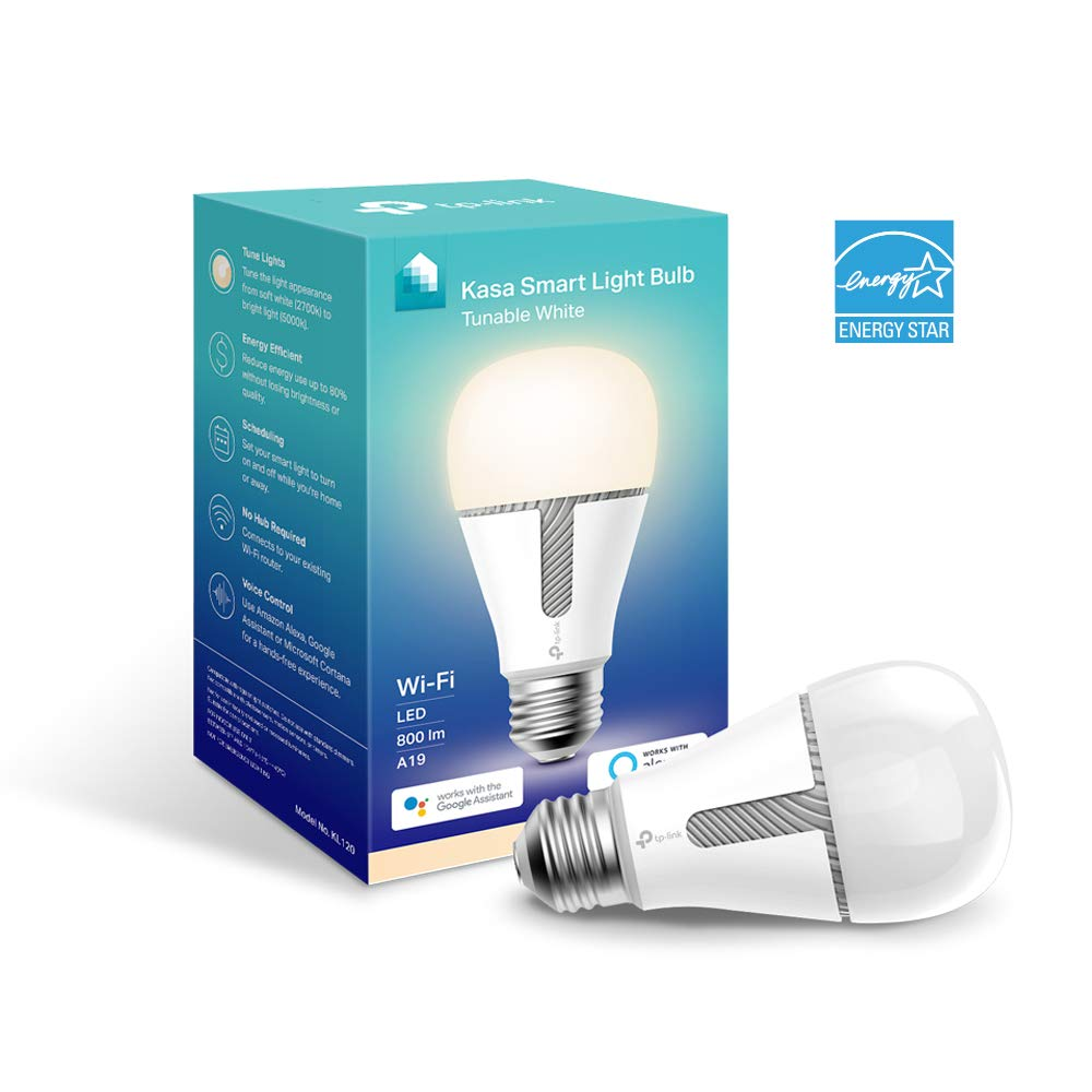 Kasa Smart WiFi Light Bulb, Tunable White by TP-Link – Smart Light Bulb, Works with Alexa & Google (KL120)