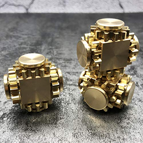 Amperer Pure Brass Fidget Block Fidget Cube Gears Linkage Cubes Ultra Durable Mechanics Romoveable EDC Toy (Brass) by Amperer (Image #1)