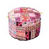 Trendy Cotton Pouf Cover Floral Patch Work Pink Ottoman Cover Set of 1 By Rajrang