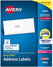 """Avery Address Labels with Sure Feed for Laser Printers, 1"""" x 2-5/8"""", 7,500 Labels (5"""