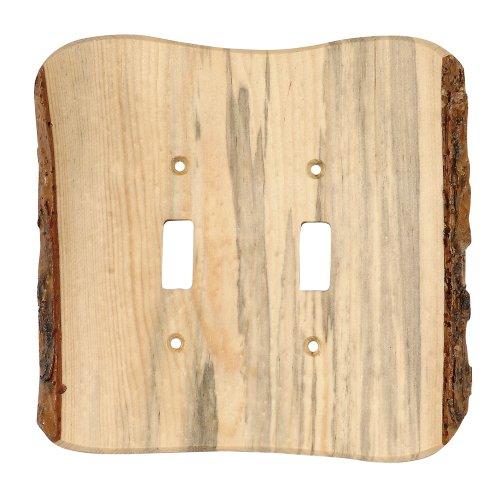Black Forest Décor Rustic Edge Blued Pine Lodge Double Switch Plate - Lodge Décor ()