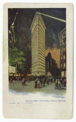 Election night illumination, Flatiron Building, 1863 |Historic Postcards | Vintage Antique Poster Reproduction (Iron Flat Postcard Building)