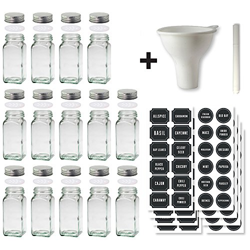 Glass Spice Jars Set of 14 Jars and 60 Chalkboard Labels with Stainless Steel Lids