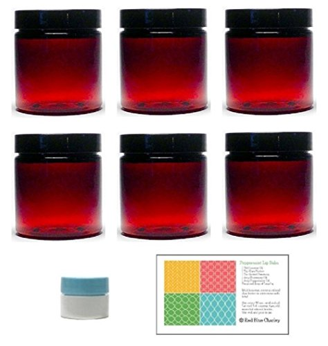 Amber 8 Ounce Plastic Jars with Black Lids (6 pk) with Mini Jar - Round Refillable Containers ()