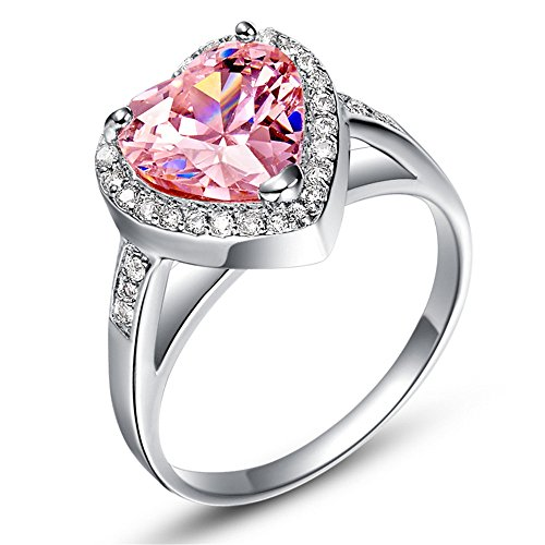 925 Sterling Silver CZ Heart Pink Crystal Promise Engagement Band Ring (Pink Gem Ring compare prices)