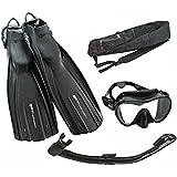 Mares Avanti Quattro Plus Fin Calypso Mask Dry Snorkel Set with Gear Bag