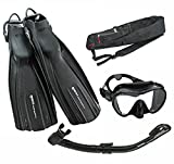 Mares Avanti Quattro Plus Fin Calypso Mask Dry Snorkel Set with Bag, Black, X-Large