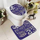 SOCOMIMI 2 Piece Toilet mat Set Retro American Football College Version Illustration Athletic Championship Apparel Blue White 2 Piece Shower Mat Set