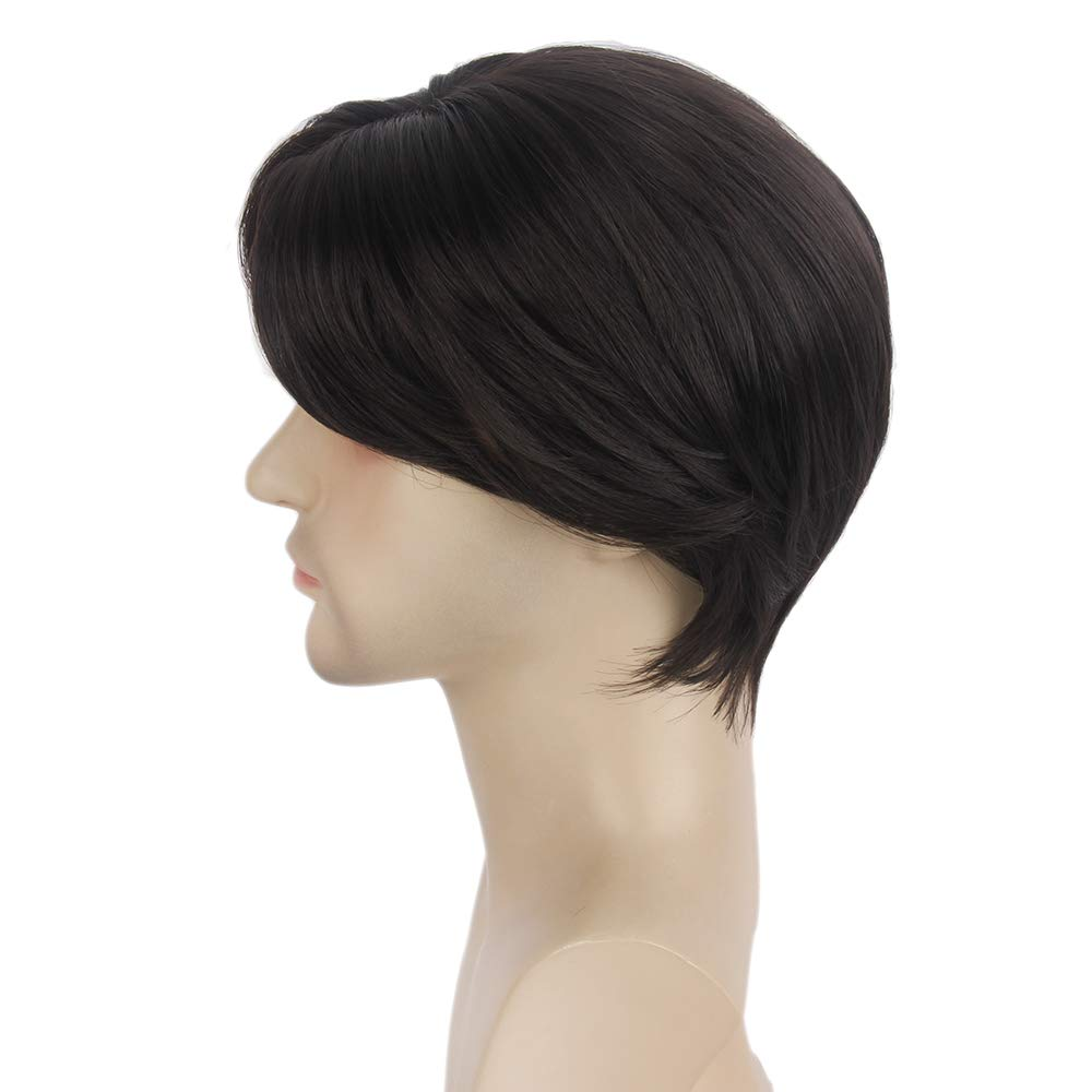 STfantasy Mens Wig Dark Brown Short Straight Middle Part Synthetic Hair for Male Guy Everyday Daily John Wick Cosplay Party